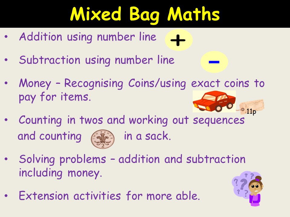 Mixed Maths: Add/Subtract sums, Money work, Counting in 2s , Solve Word Problems - 5 Lesson Plans