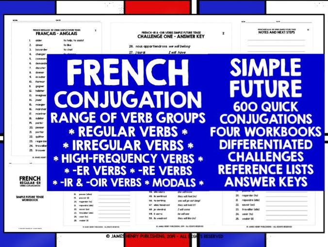 FRENCH SIMPLE FUTURE TENSE CONJUGATION WORKBOOKS