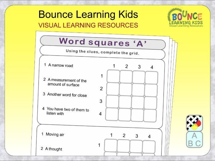 Word squares - guess the word horizontally and vertically