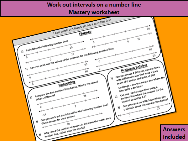 Work out intervals on a number line - mastery worksheet (year 7 white rose)