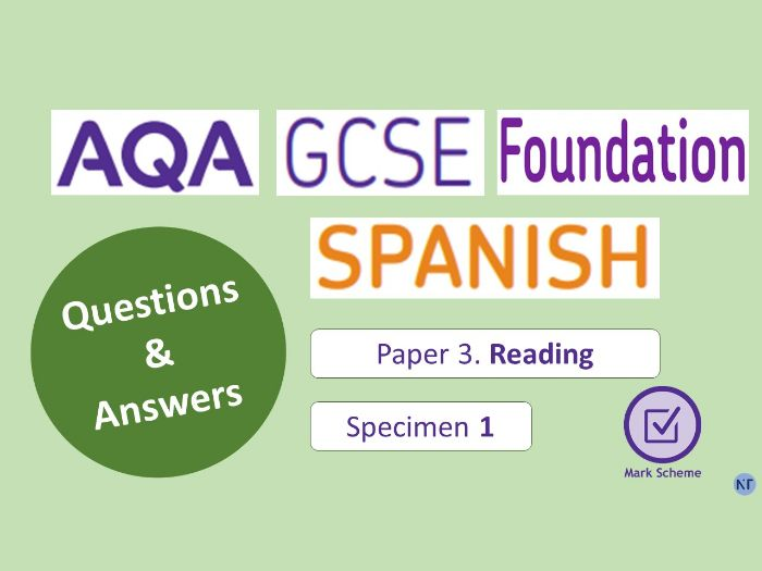 GCSE Foundation Paper 3: Reading (Specimen 1)