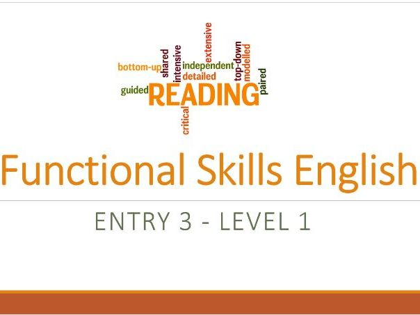 Functional Skills English Reading Powerpoint Pack Entry 3 - Level 1