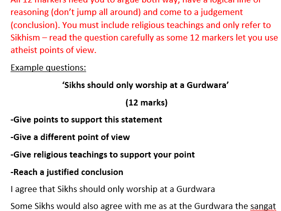 RS GCSE AQA Sikhism exam questions and answers