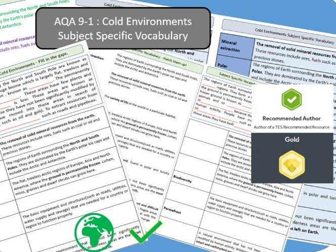 AQA 9-1 GCSE Geography - Cold Environments, Key Vocabulary Literacy Activity Sheets.