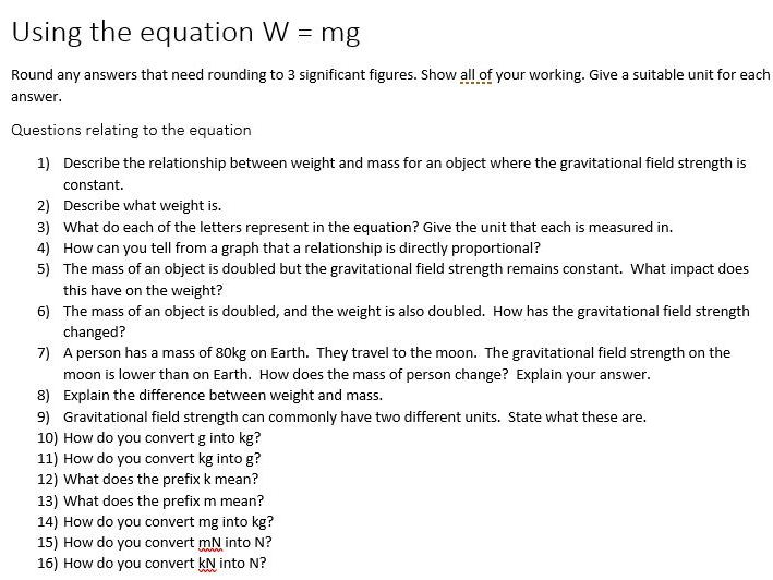 W = mg practice questions and answers