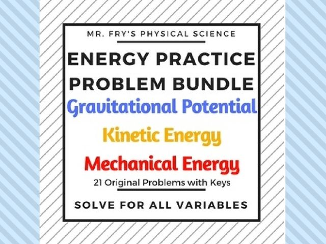 Energy Practice Problem Bundle - GPE, KE, Conservation of ME