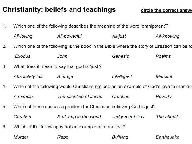 Christianity: Beliefs & Teachings (Paper 1: AQA A GCSE Religious Studies) - multiple choice test