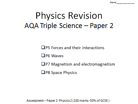 AQA Physics GCSE revision Paper 2 P5-8