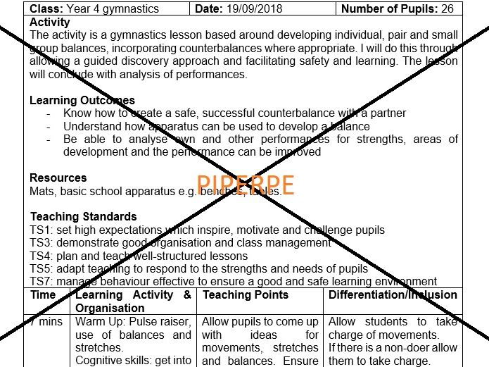 KS3/Lower KS4 Gymnastics Balances Lesson Plan