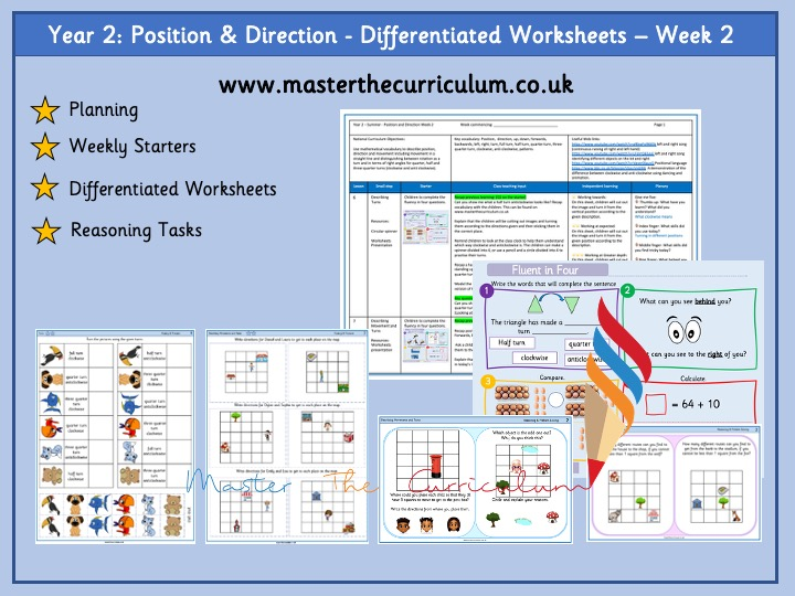 Year 2- Week 2- Geometry: Position & Direction -Differentiated Worksheets - White Rose Style