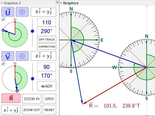 Vectors & Bearings (Geogebra)