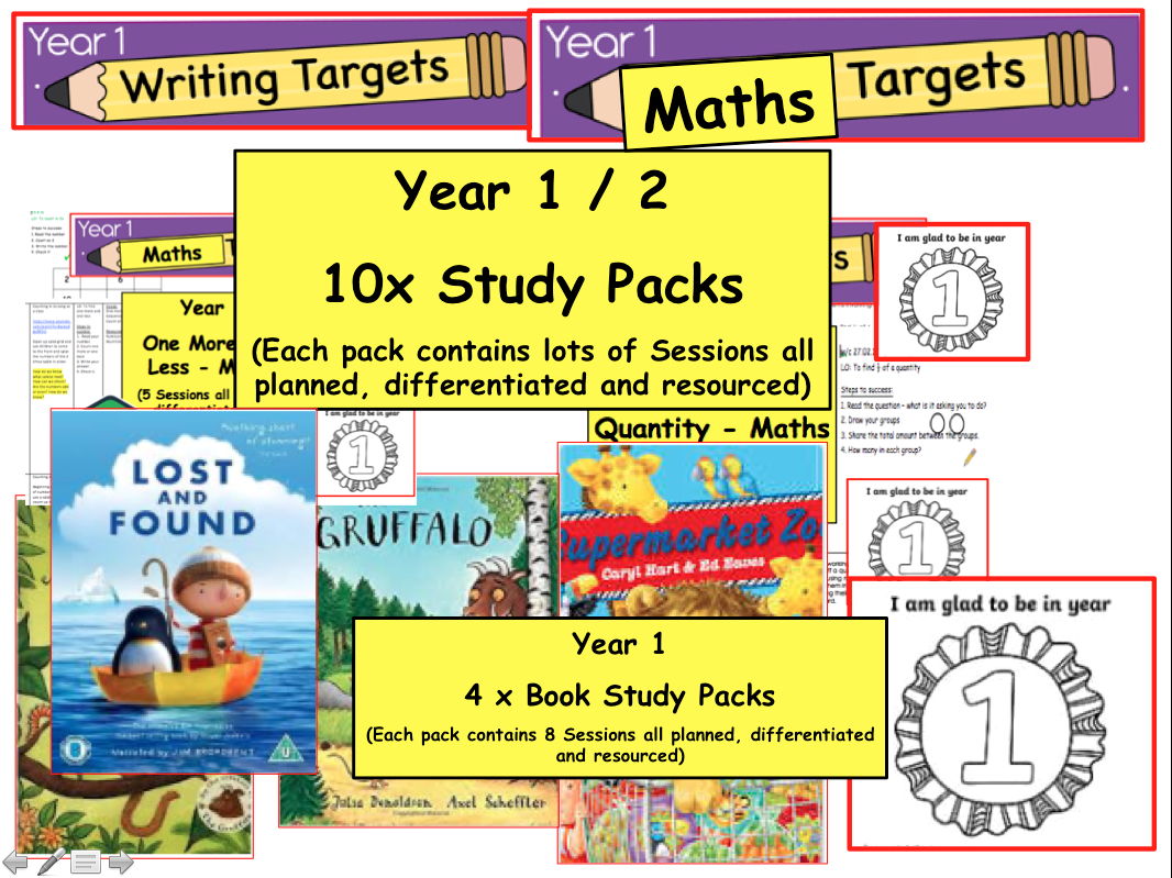 Year 1 / 2 Phonics , Reading , Numeracy Teaching Packs for several weeks worth of lessons