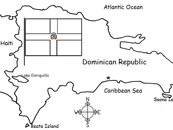 DOMINICAN REPUBLIC - Printable Handout with Map and Flag