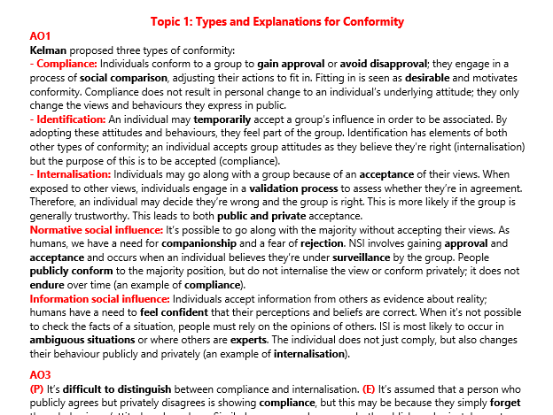 AS Social Influence Revision (Psychology)