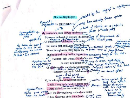 Annotated Keats poems Edexcel A-Level