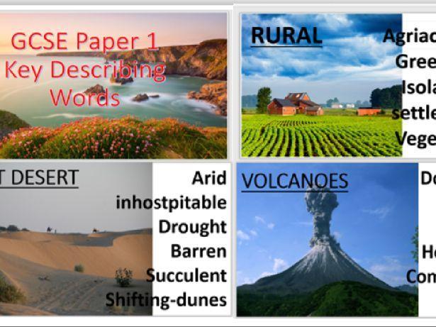 GCSE Geography literacy display, describing for exam success