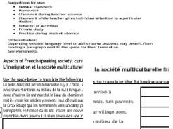 A-level AQA or Edexcel 'multicultural issues' translation French to English