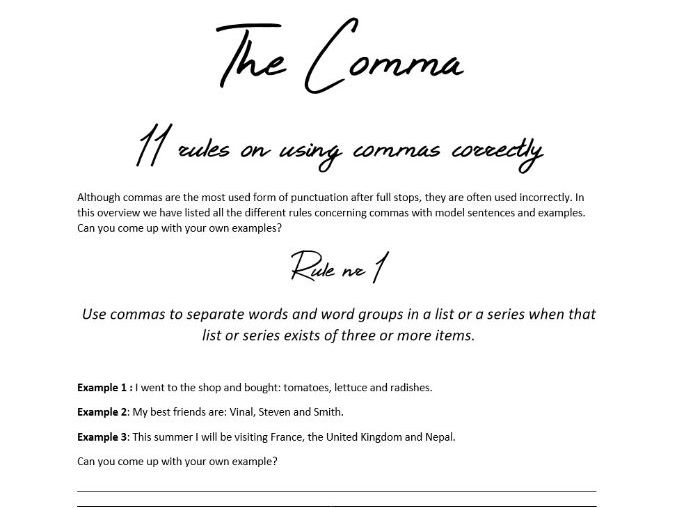 Comma Rules KS3+KS4 with model sentences