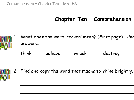 Reading comprehension questions - VIPERS - Toto by Michael Monpurgo Chap 15