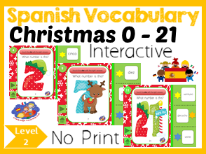 Spanish Numbers 1 - 21 - No Print Interactive Christmas Game