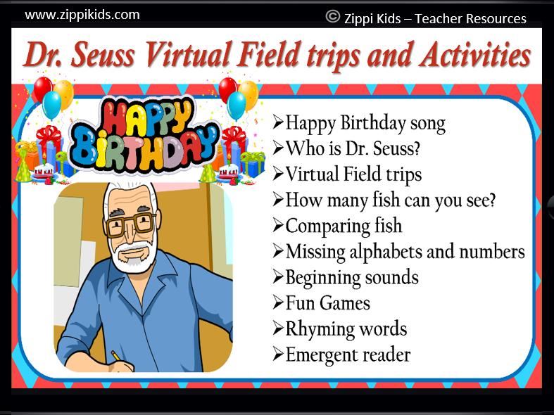 Dr. Seuss Virtual Field trip | Activities | Math | Literacy - 70 Google Slides