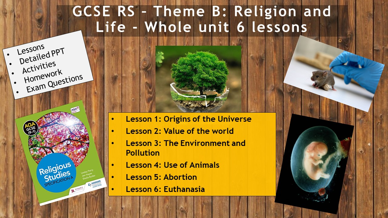 AQA GCSE RE RS - Theme B: Religion and Life - WHOLE UNIT (6 lessons)