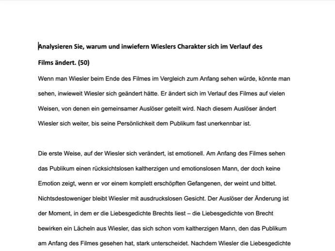 Edexcel A Level German Essay: Das Leben der Anderen