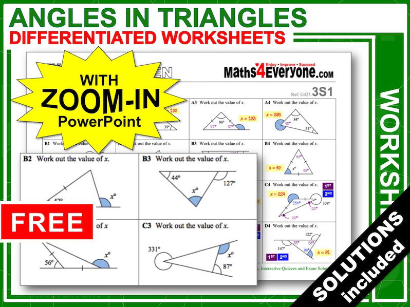 Angles In Triangles Worksheets With Answers