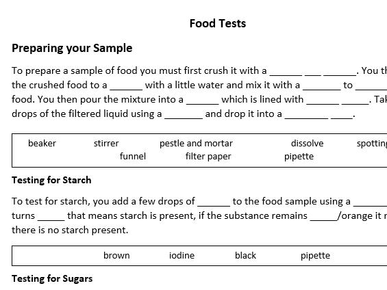 Food Tests Gap Fill