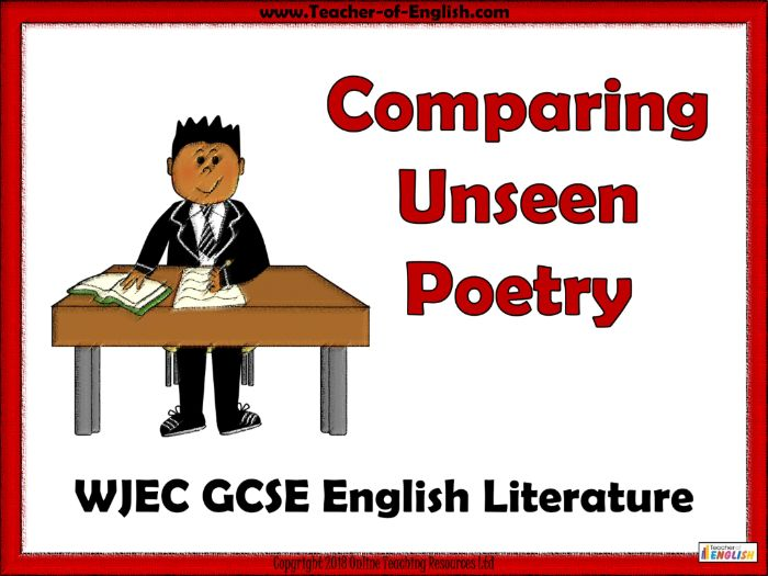 WJEC 9-1 GCSE English Lit Unseen Poetry (PowerPoint and worksheets)