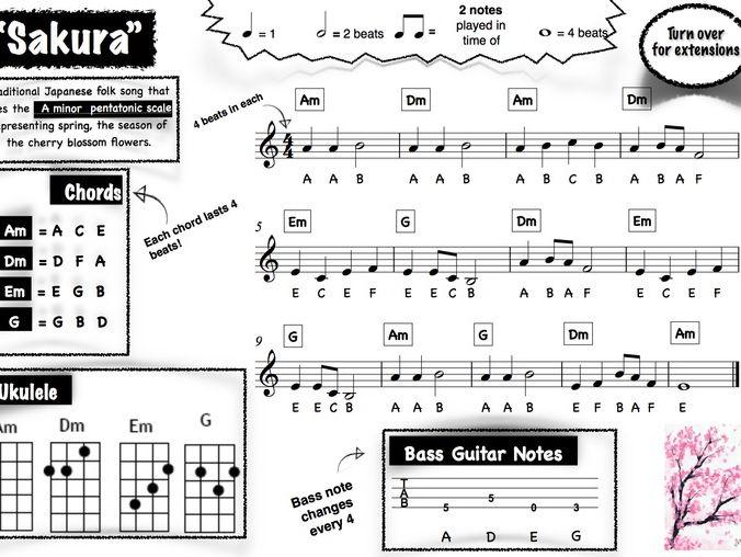 Reggae, Classical and World music group lead sheets (Bob Marley, Pachelbel & Sakura)