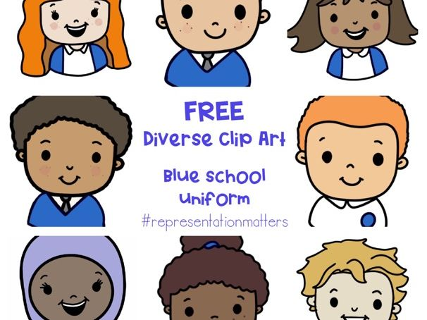 Diverse Pupil Clip Art - Blue Uniforms