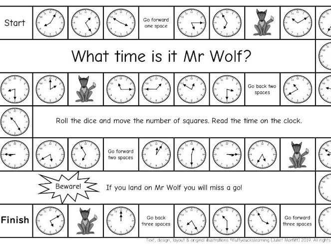 What time is it Mr Wolf? 3 differentiated time board games