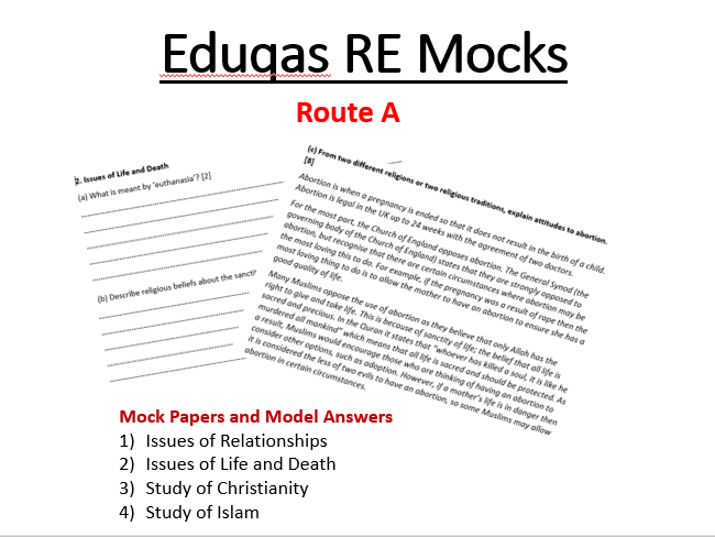 Eduqas Religious Studies Route A GCSE Mock Papers and Model Answers