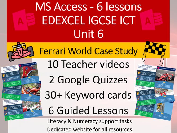 Access Database (6 lessons, 10 teacher videos , 2 quizzes, 30+ flash cards)