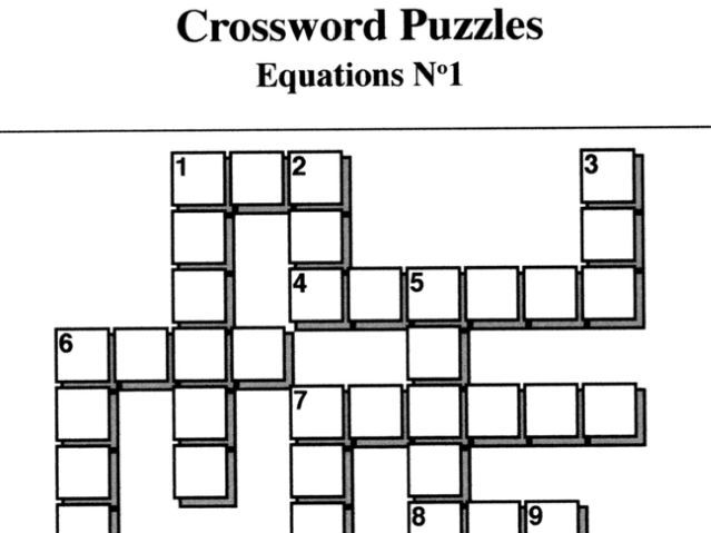 Equations No1 (Crossword Puzzles)