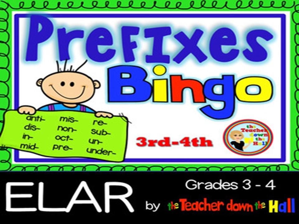 Prefixes Bingo - w/ 35 Bingo Cards Grades 3-4