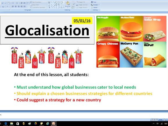 Glocalization - A level Business / Economics