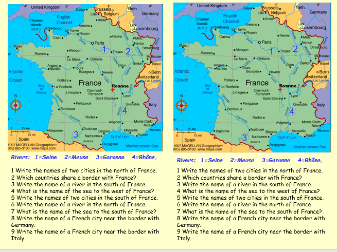 Map of France with worksheet on cities, rivers etc.