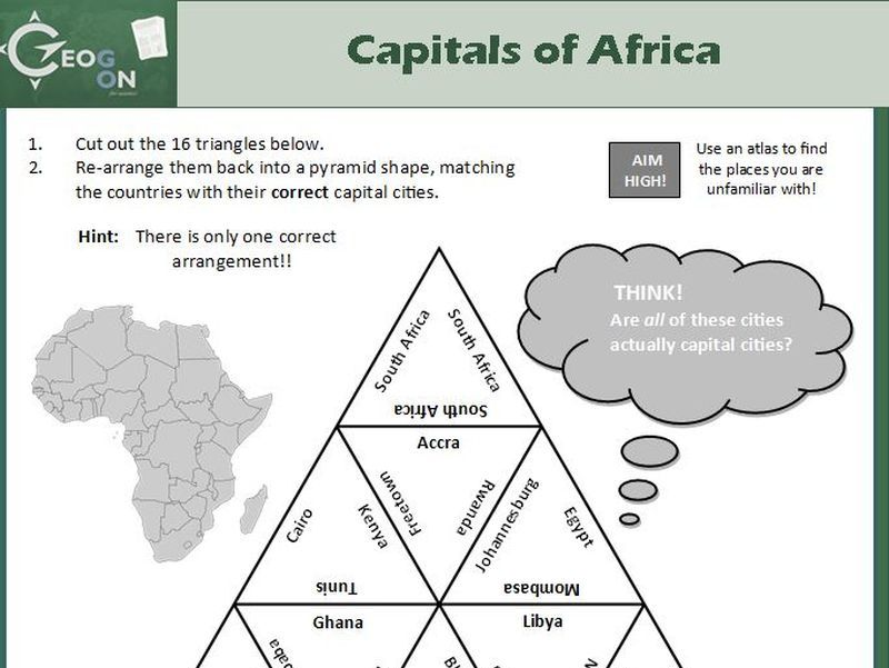 Capitals of Africa Triangle Puzzle