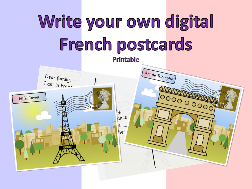 Write your own French Postcards (Paris) - Digital and printable