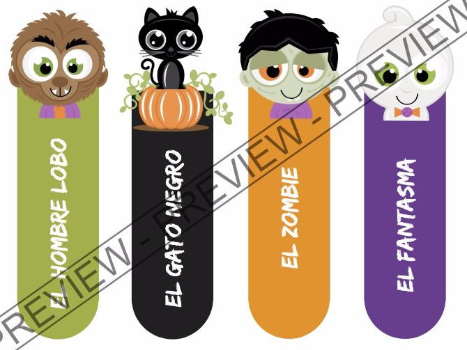 Marcapáginas Halloween - Bookmarks (Halloween Themed) - (In Spanish and blank)