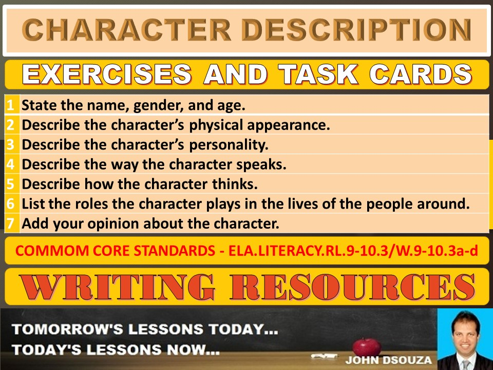 CHARACTER DESCRIPTION: WORKSHEETS AND TASK CARDS