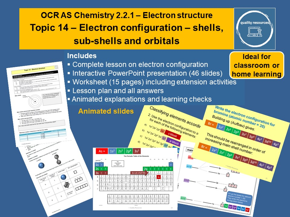 Electron configuration – shells, sub-shells and orbitals OCR AS Chemistry
