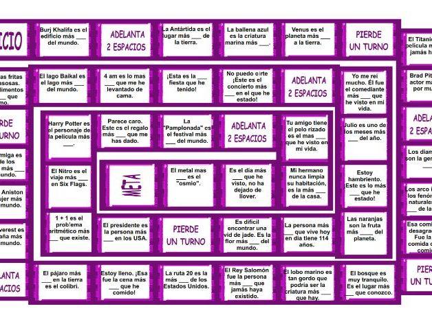 Superlative Adjectives Spanish Board Game