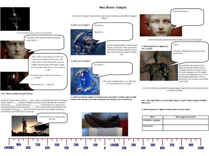 BBC - Caligula with Mary Beard - Worksheet to support the Documentary