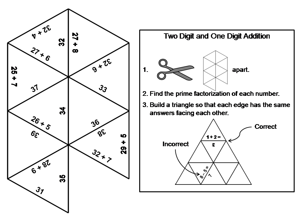 Two Digit and One Digit Addition Game: Math Tarsia Puzzle