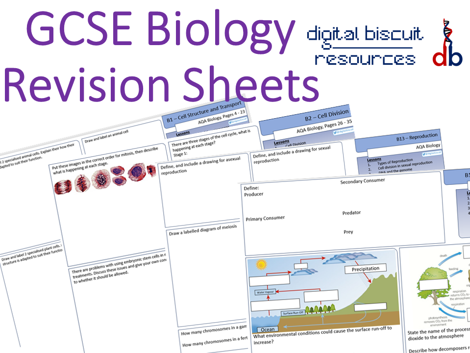 New AQA 9-1 Biology Whole Course Revision Sheets