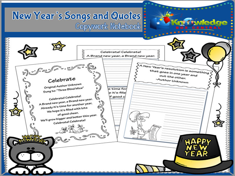 New Year's Songs & Quotes Copywork Notebook