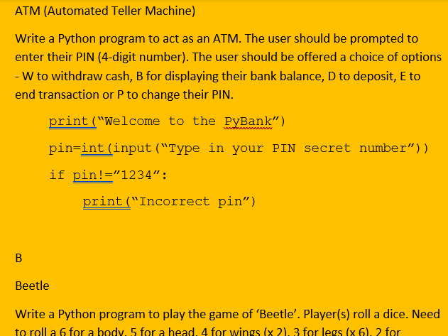 A to Z suggestions of programming tasks (Python-based)